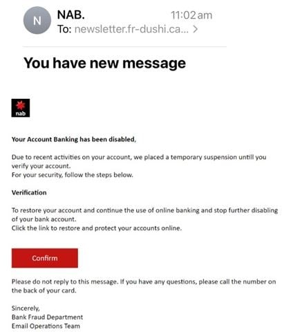 November NAB brand Phishing email